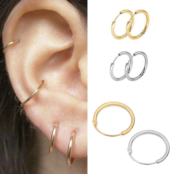 3 Pair/Set Fashion Women Girl Simple Round Circle Small Ear Earring Punk Hip-hop Earrings Jewelry 3 Size - Online-store