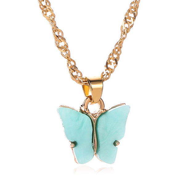 Sweet Acrylic Color Butterfly Necklace - Online-store