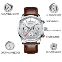 Analog Quartz Wristwatches 30M Waterproof Chronograph Sport Date Leather Band Watche - Online-store
