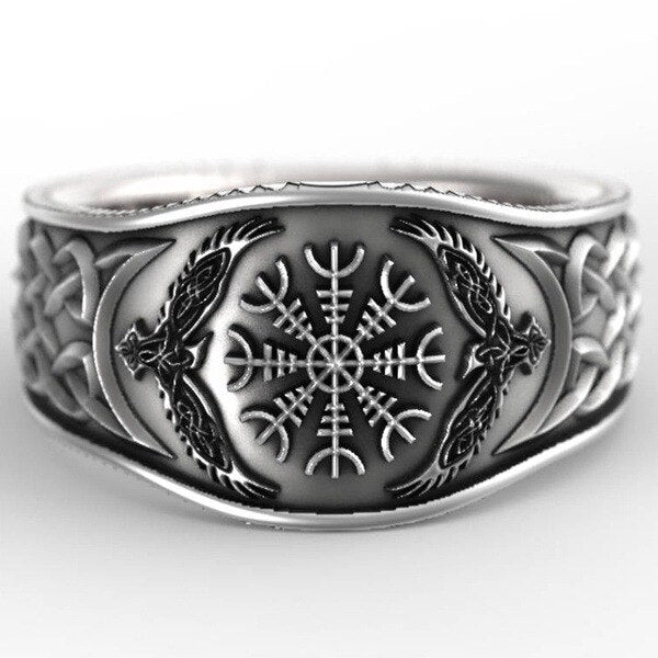 Hip Hop Rock Punk Nordic Mythological Story Viking Compass Silver Ring - Online-store