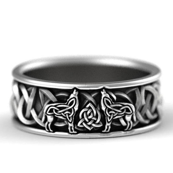Carved Wolf Ancient Black Punk Hip Hop Wide Ring - Online-store