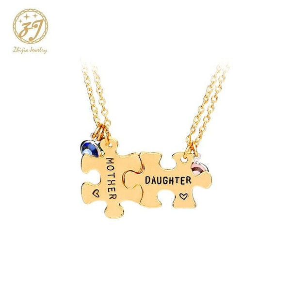 Mother daughter necklaces women golden necklace pendants For 2 stitching jewelry mothers day gift - Online-store