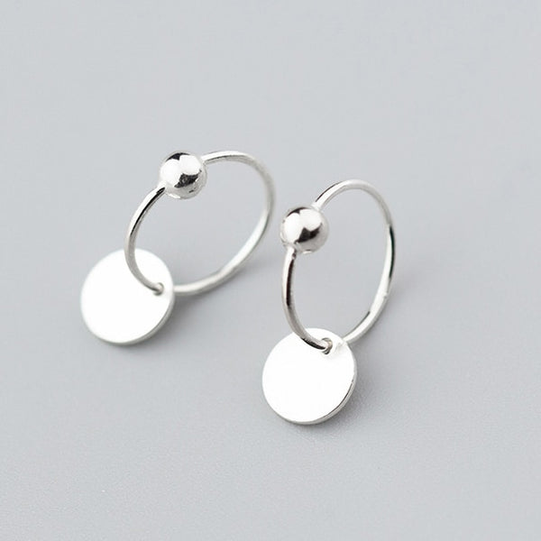 Minimalist Round Bead Classic Hoop Earrings - Online-store