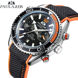Men Automatic Self Wind Mechanical Canvas Rubber James Bond 007 Style Watch - Online-store