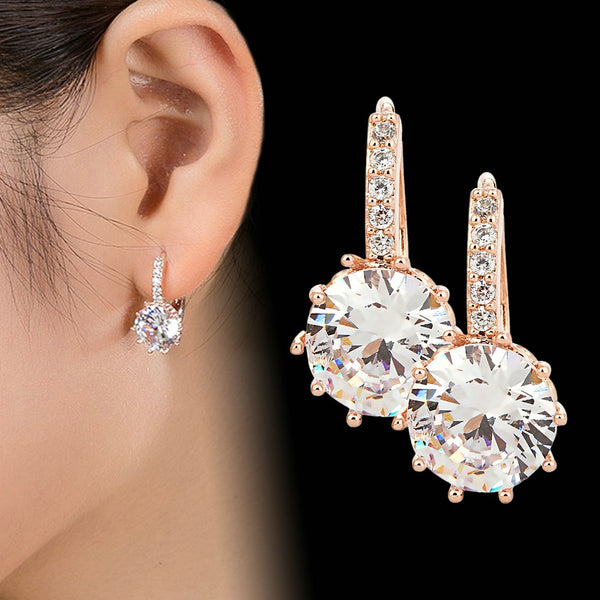 Vintage Earrings Rose Gold Crystal CZ Bling Drop Earrings - Online-store