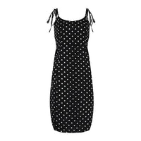 Polka Dot Sleeveless High Pleated elastic waist V-Neck Dress - Online-store
