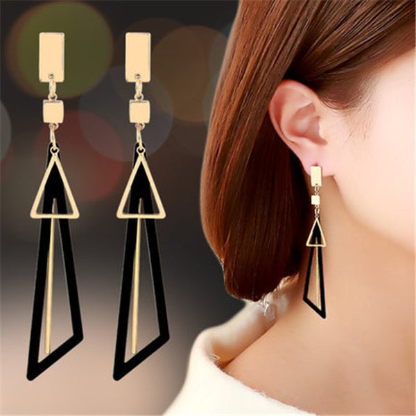 Geometric Square Triangle Long Tassel Drop Earrings - Online-store