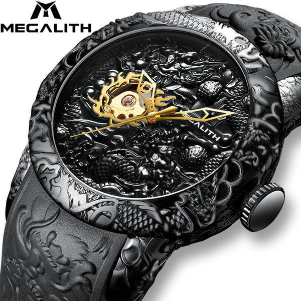 MEGALITH Gold Dragon Sculpture Automatic Mechanical Watches Men Waterproof Silicone Strap Quartz Wristwatch - Online-store