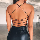 Summer cotton backless bandage lace up crop top - Online-store