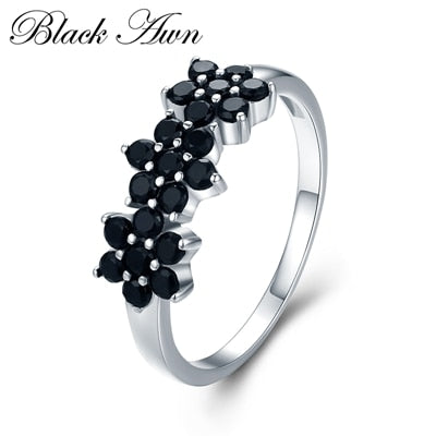 Cute 2.1g 925 Sterling Silver Flower Bague Black Spinel Ring - Online-store