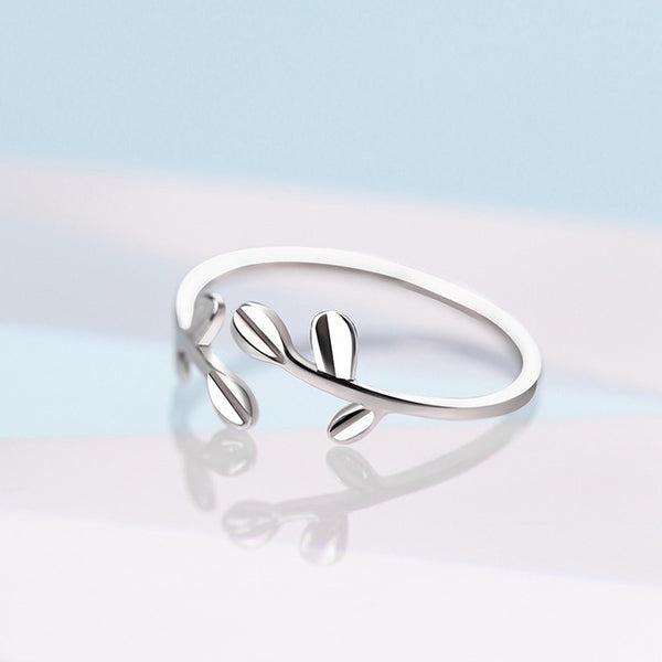 Silver Leaves Open 925 Sterling Silver Ring RR273 - Online-store