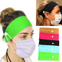 Soft Headbands with 2 Buttons Face Mask Holder Non Slip Comfortable Way to Wear Face Mouth Masks - Online-store