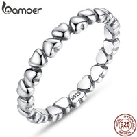 Bamoer real 925 Sterling Silver Forever Love Heart Finger Ring - Online-store