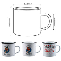 350ML Family Enamel Milk Mug, Mother's Day Gift Mug, Father's Beer Mug, Mother Rolled Edge for Mom and Dad Gift  Home Water Mug - Online-store