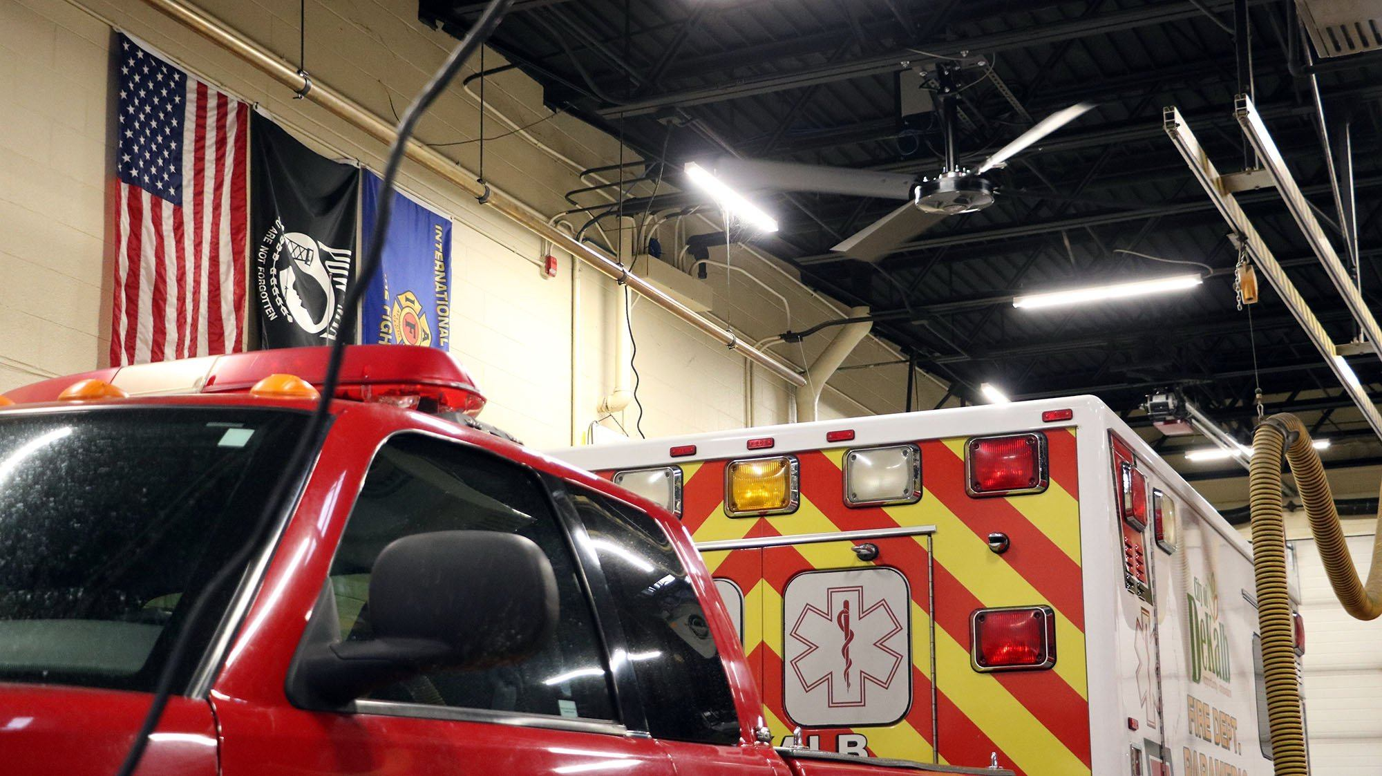 XP industrial garage fan keeps fire station temperature controlled year-round