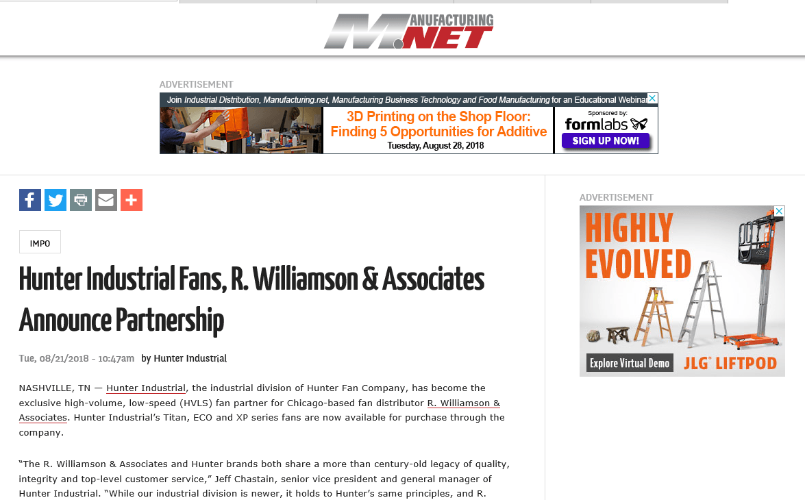 Hunter Industrial Fans, R. Williamson & Associates Announces Partnership –  Manufacturing.net