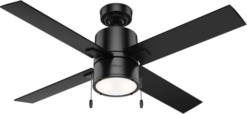 Hunter Beck small black ceiling fan with led light and pull chains
