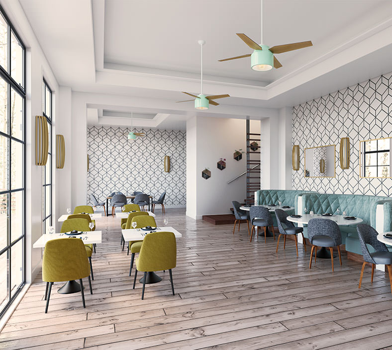 Dining room picture with ceiling fans