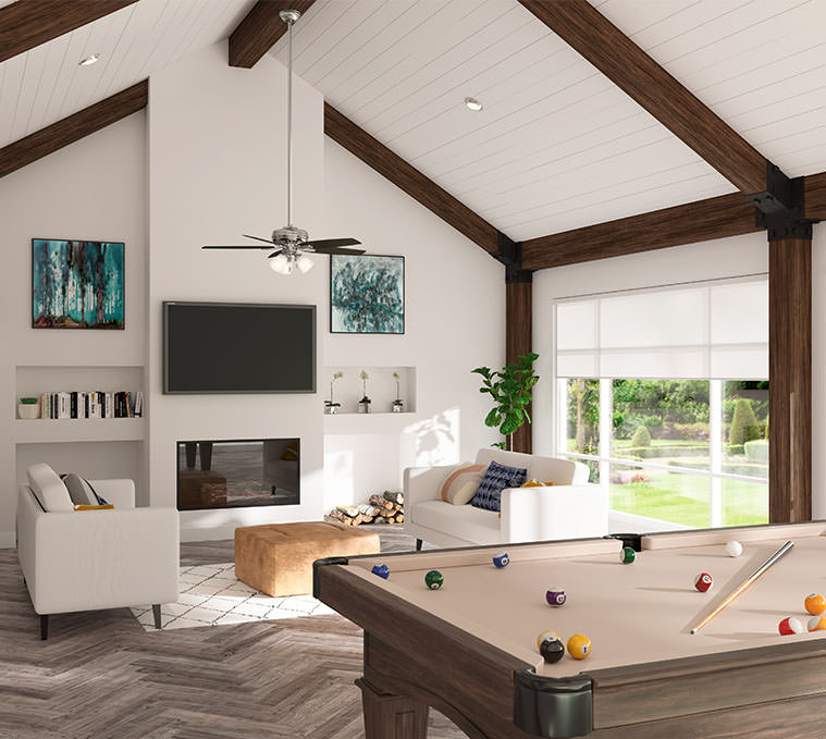 Pool and lounge room with long downrod ceiling fan