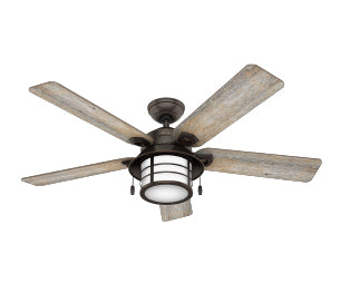 Key Biscayne Hunter lantern outdoor ceiling fan with light for coastal patios and porches