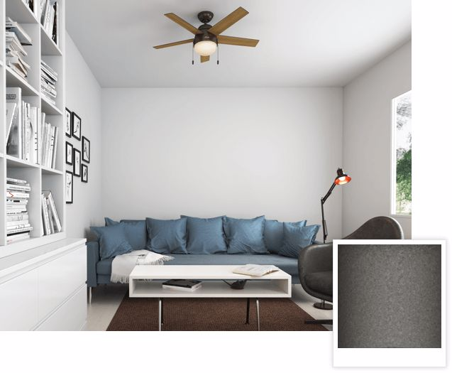 Anslee with Light Ceiling Fan in Living Room