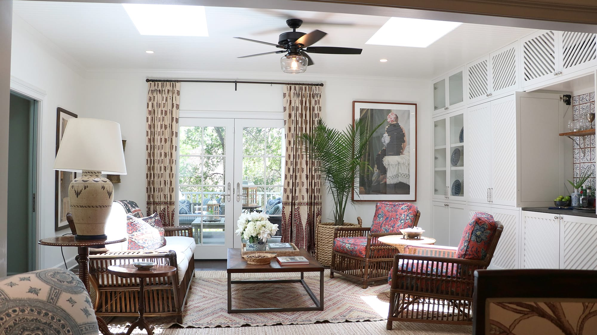 Bennett ceiling fan in sunroom