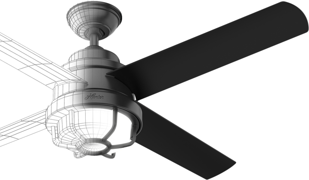 Ceiling fan split in half with one side displaying a 3D rendering of the fan and the other side shows the finished product