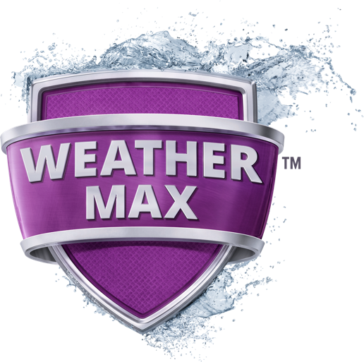 A purple shield with a water splash behind it that reads WeatherMax