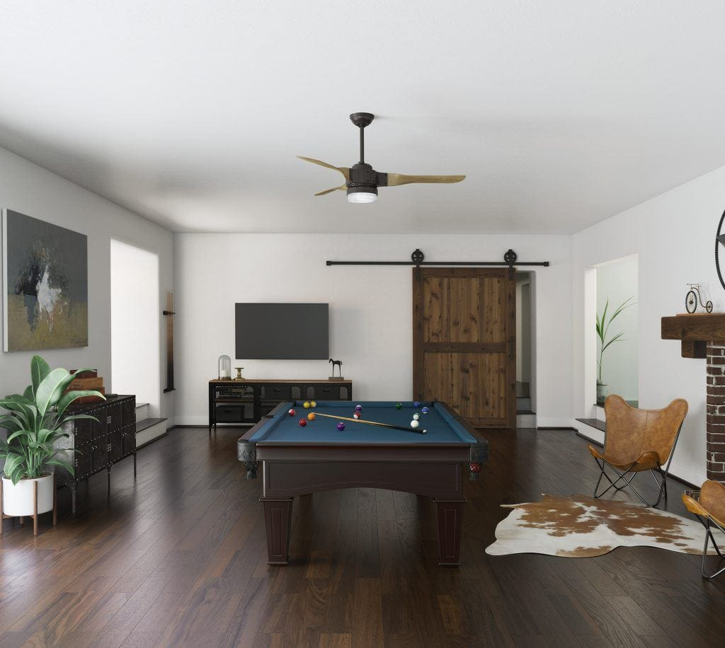 Apache industrial game room ceiling fan in a mid century game room