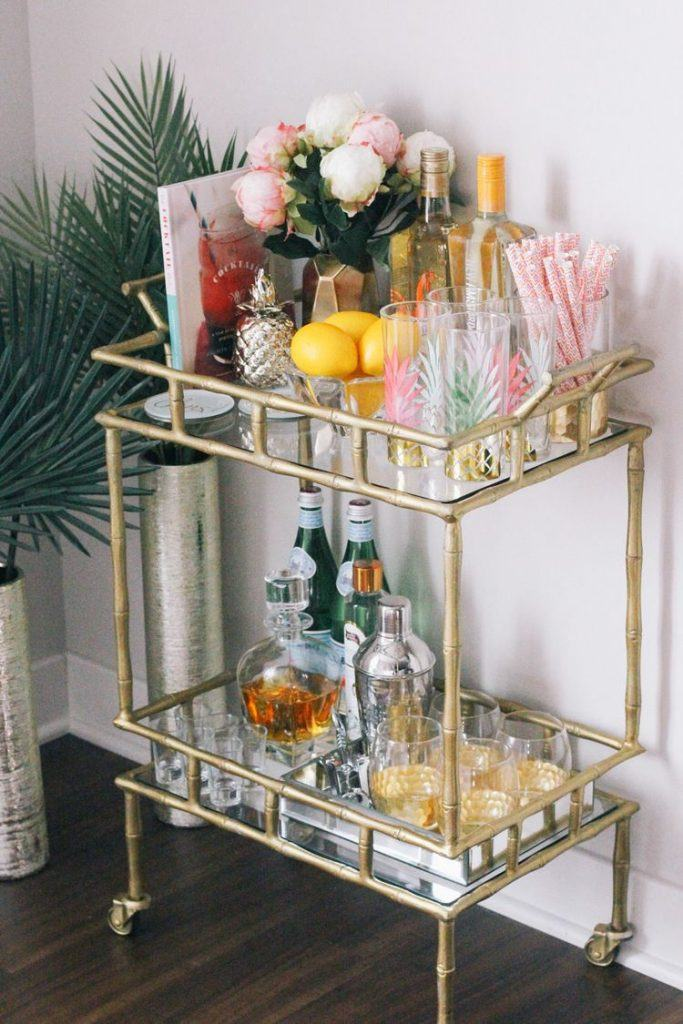Bart Cart with drinks, glasses, and decoration