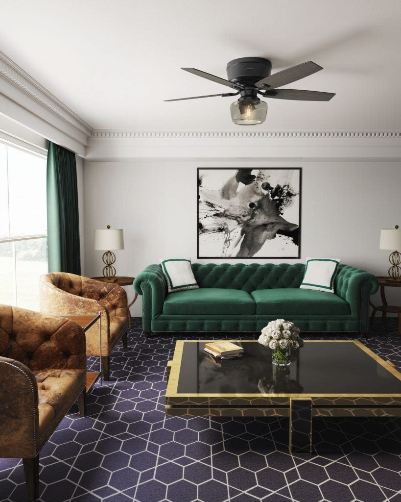 Bennett transitional ceiling fan in eclectic living room