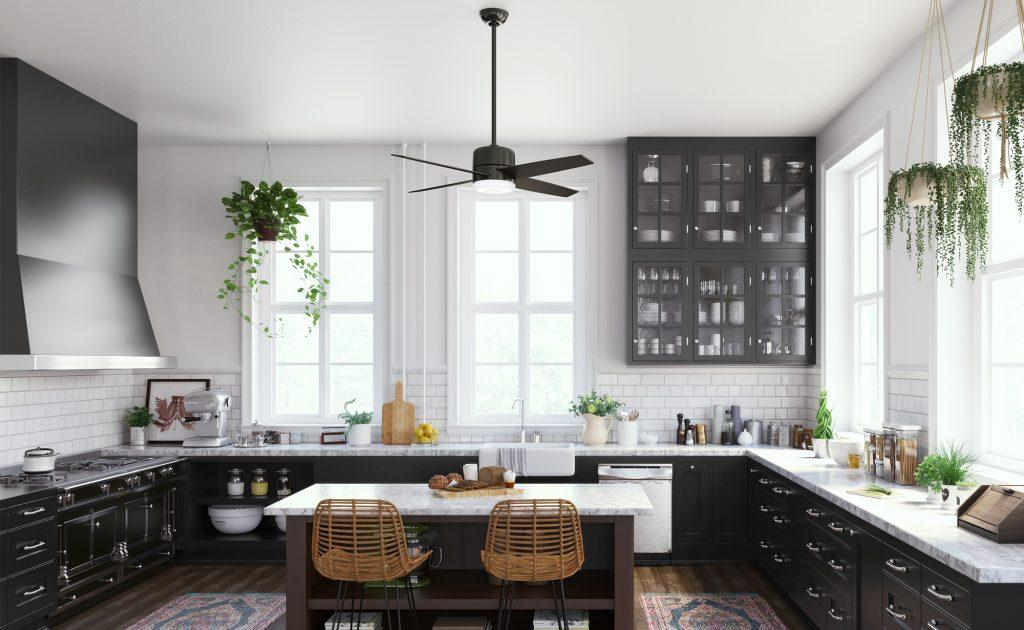Modern bohemian kitchen with black smart home ceiling fan by Hunter