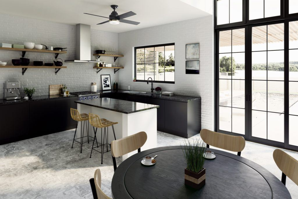 Casablanca Daphne black modern glam ceiling fan in modern Boho kitchen and dining room