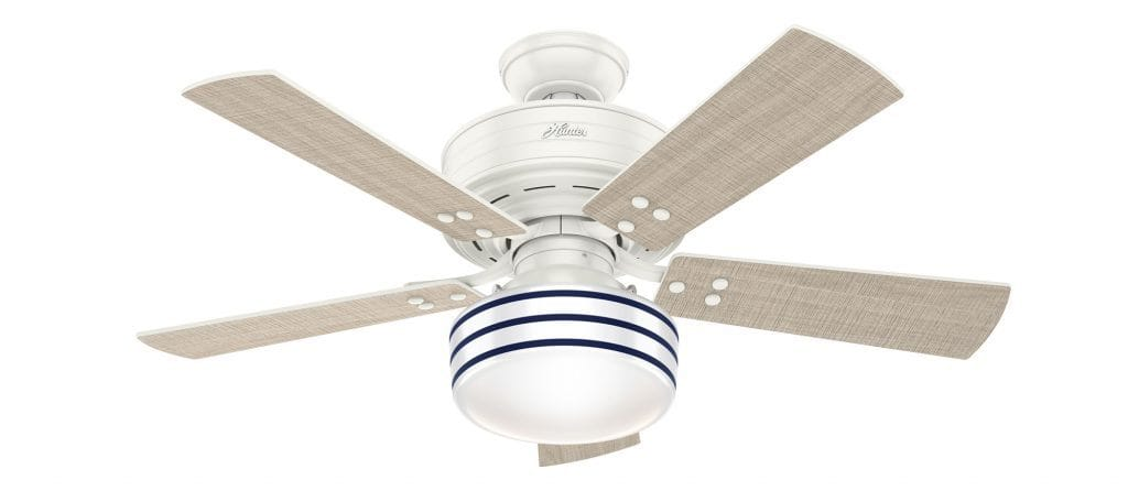Cedar Key coastal white ceiling fan with light featuring shiplap inspired glass