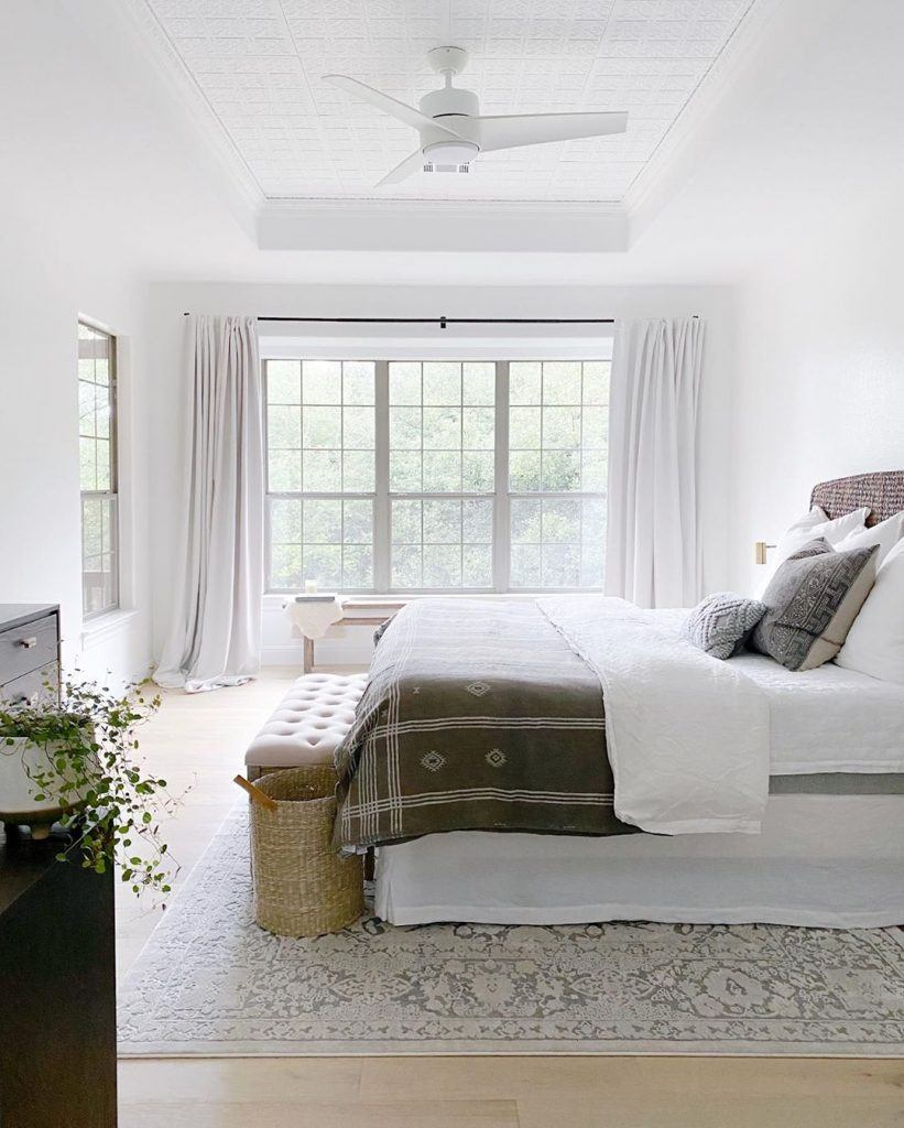 Fresh White Havoc hanging in a master bedroom