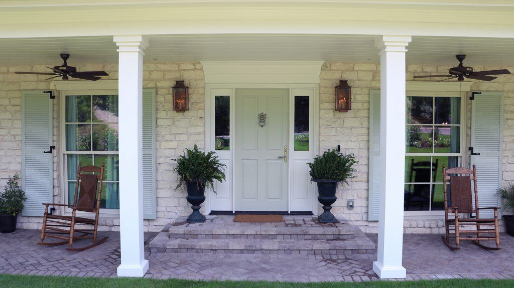 Southern Living Idea House 2018 front porch with Hunter ceiling fans without lights
