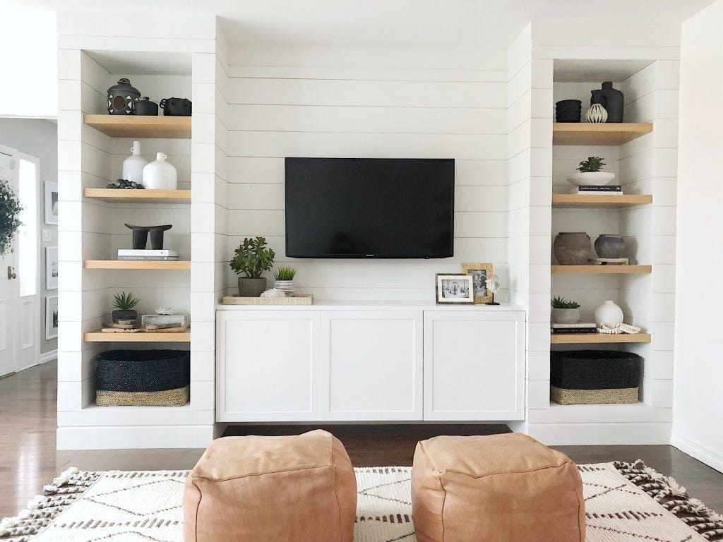 built ins with shiplap from theheartandhaven.com
