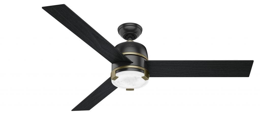Hunter Bureau modern ceiling fan with marble glass and LED light