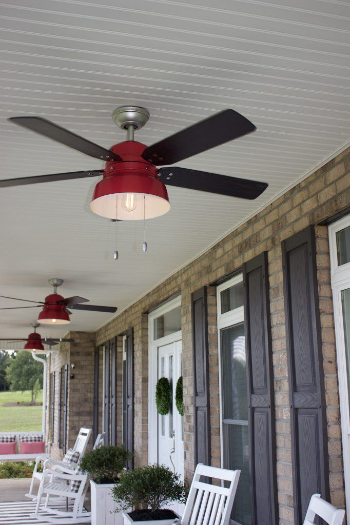 Red Mill Valley pendant inspired ceiling fan on farmhouse porch