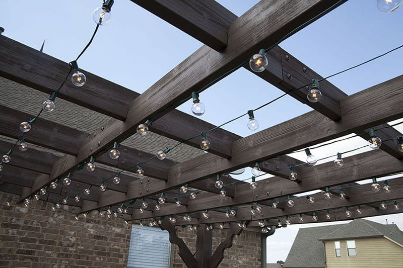 Huntervention patio with vintage string lights