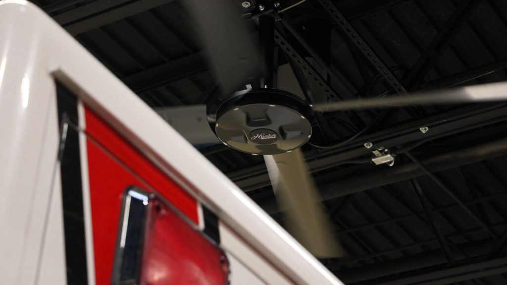 XP Hunter industrial ceiling fan in fire station to help with air stratification