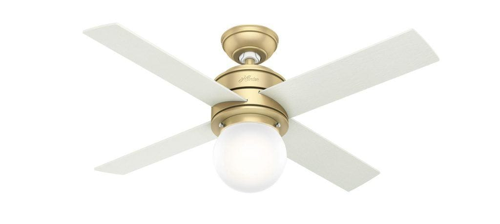 Hunter modern brass Hepburn fan with LED light