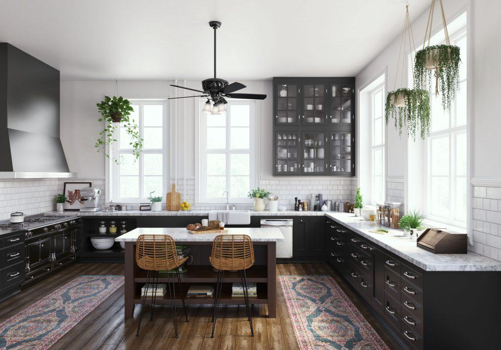 Hunter Promenade modern Victorian black ceiling fan with light in modern bohemian kitchen