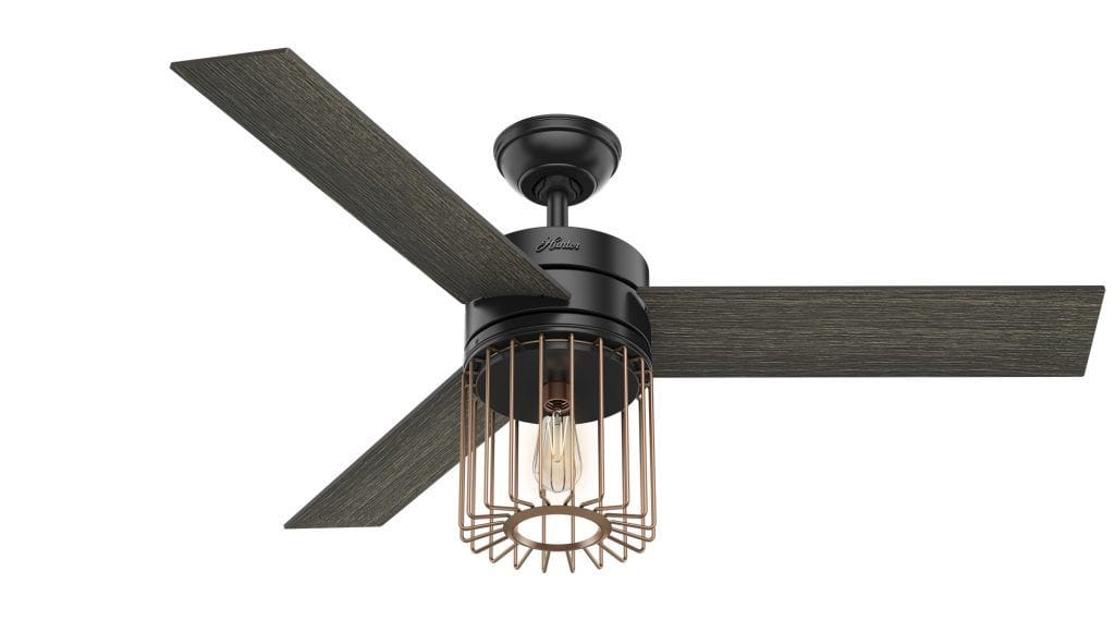 Ronan black modern caged ceiling fan with Edison LED light by Hunter Fan Company