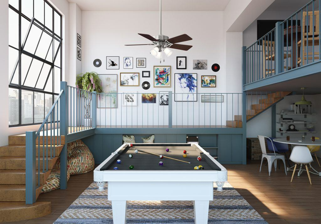 Hunter Summer Breeze traditional ceiling fan with light in urban eclectic game room