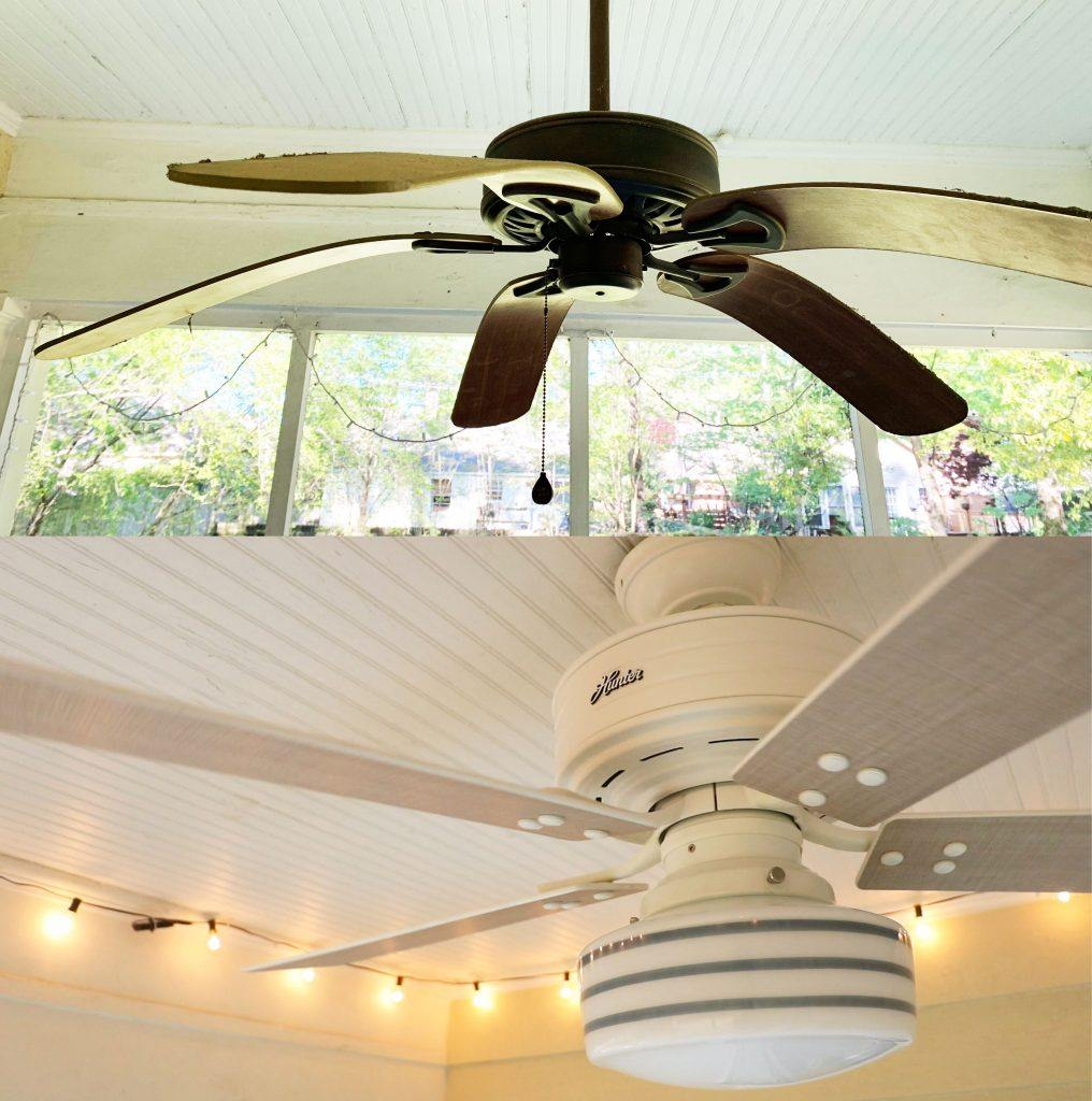 Huntervention with before photo of fan with droopy blades and new outdoor ceiling fan with light