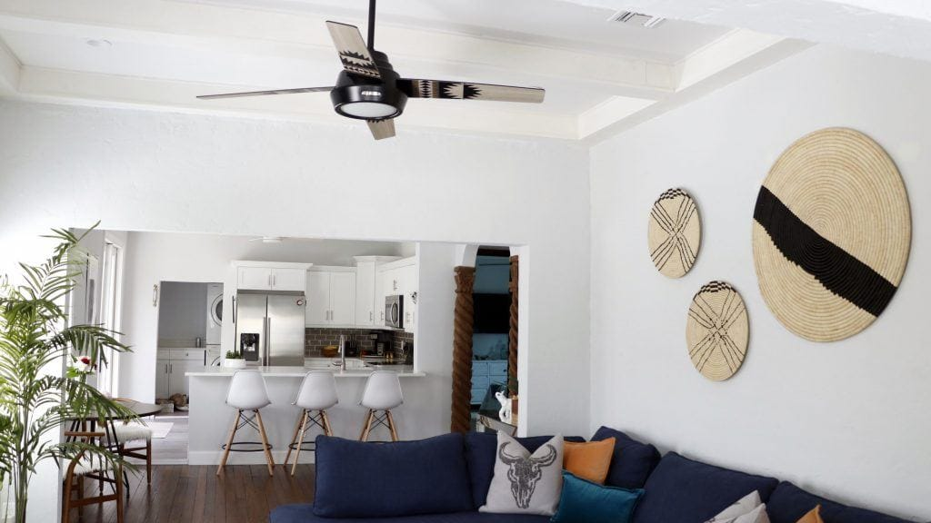 Huntervention Palm Springs AirBnB Southwestern living room with Pendleton Spider Rock modern ceiling fan
