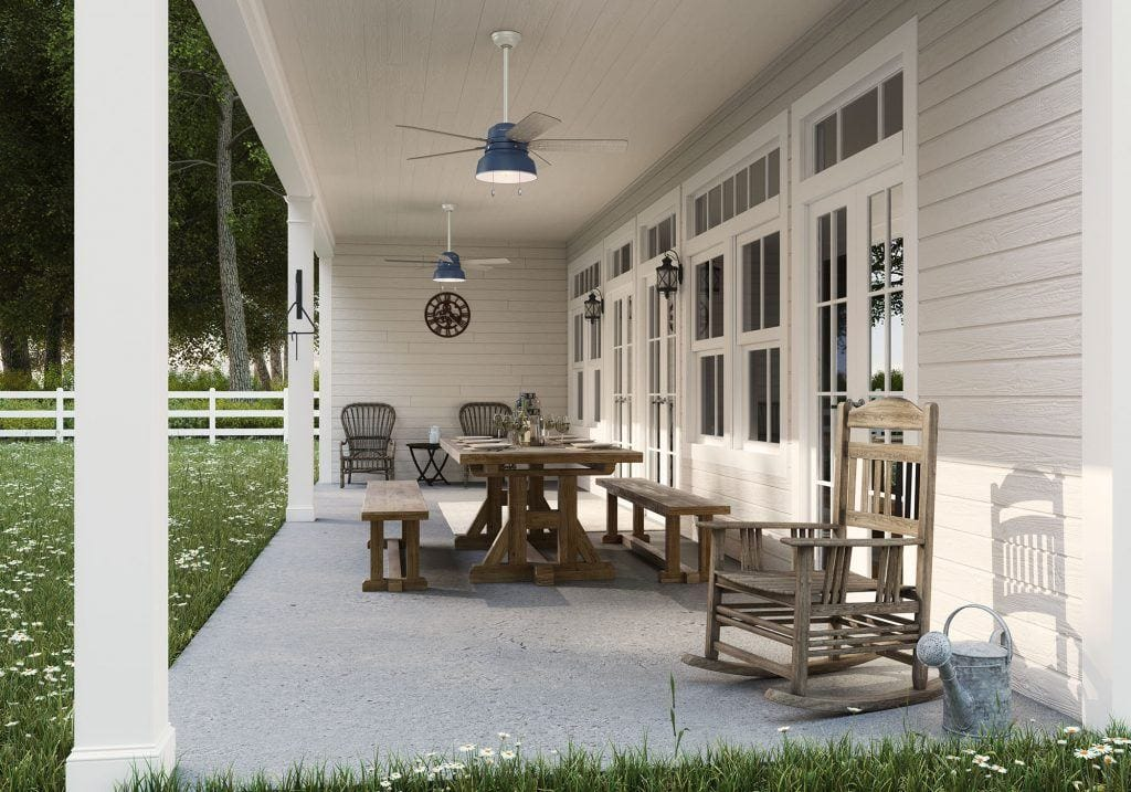 Mill Valley Indigo ceiling fan with light and pull chains on farmhouse porch