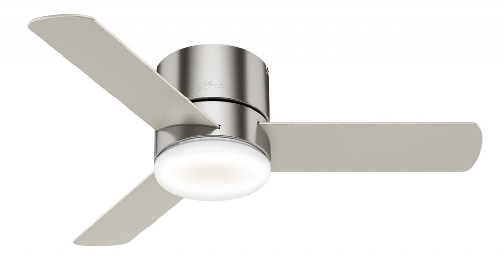 Minimus Hunter low profile ceiling fan with LED light for living rooms with low ceilings