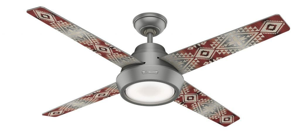 Hunter Pendleton nickel ceiling fan with remote in Canyonlands pattern